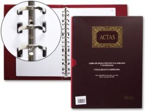 libro de hojas intercambiables para actas