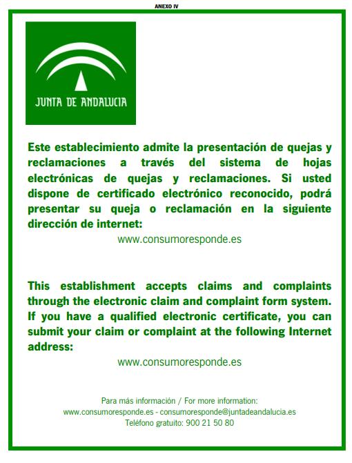 CARTEL HOJAS DE RECLAMACIONES ELECTRONICAS CON FIRMA ELECTRONICA