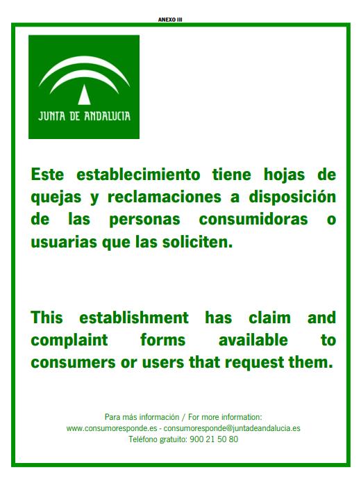 CARTEL HOJAS DE RECLAMCIONES JUNTA DE COMUNIDADES DE ANDALUCIA