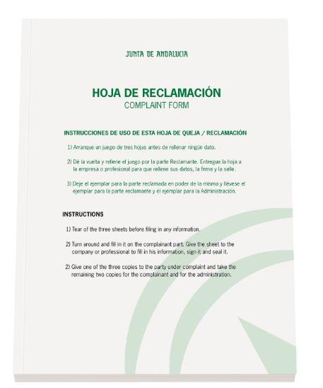 Nuevo libro de reclamaciones de consumo JUNTA DE COMUNIDADES DE ANDALUCIA 2019
